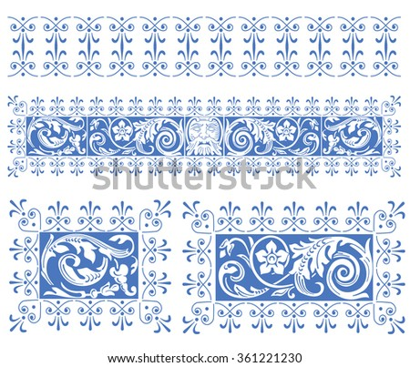 Elements of vintage picture - stock vector