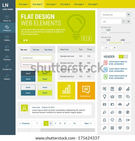 Elements set for the responsive web site. Flat design.