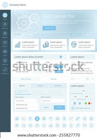 Elements set for the responsive website. Flat design. Web template - stock vector