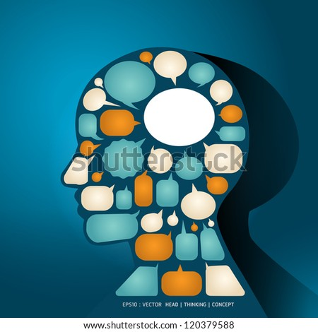 Elements speech bubbles make in man think concept / vector illustration - stock vector