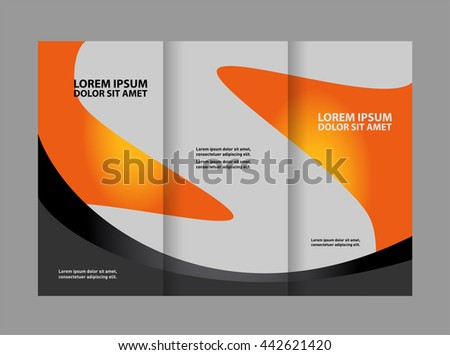 Elements Style Business Tri-Fold Brochure Template. Corporate Leaflet, Cover Design