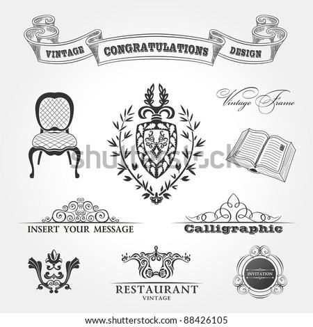 Elements vintage. Chair ribbon book. Vector ornament set - stock vector