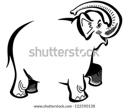 Elephant Ad Frame - Retro Clipart Illustration - stock vector