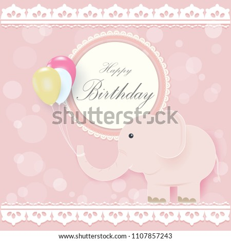 Elephant Balloons Round Retro Frame Greeting Stock Vector 1107857243