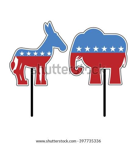 Elephant Donkey Symbols Democrats Republicans Political Stock Vector