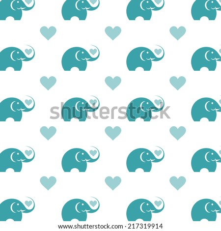 Elephant and heart. Vector illustration - stock vector
