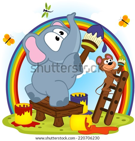 elephant and mouse draw rainbow - vector  illustration, eps   - stock vector