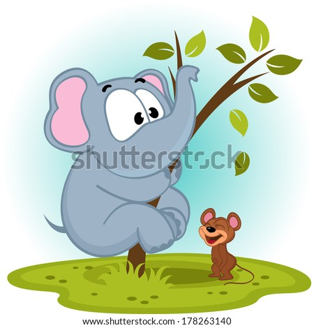 elephant and mouse - vector illustration - stock vector