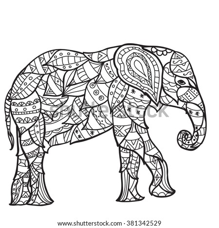Elephant Antistress Coloring Book Adults Black Stock Vector (Royalty ...