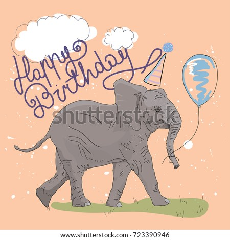 Elephant Birthday Card Stock Vector 723390946 Shutterstock