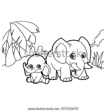 Silhouette giraffe stock vector 190409096 shutterstock for Cartoon elephant coloring pages