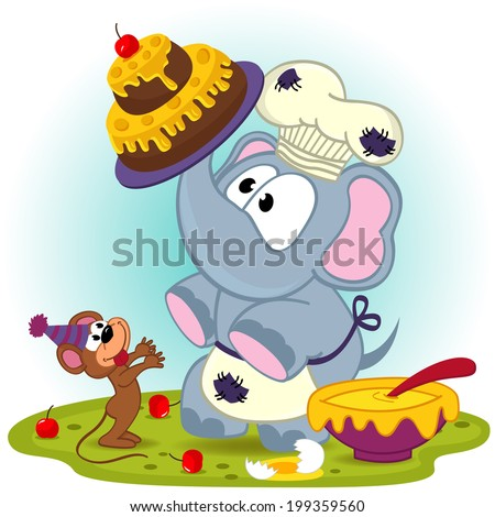 elephant chef prepare cake for mouse - vector  illustration, eps - stock vector