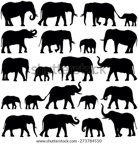 Elephant collection - vector silhouette - stock vector