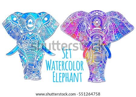 Greeting Beautiful Card Elephant Frame Animal Stock Vector ...