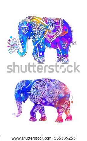elephant color illustration vector set watercolor print for clothing design