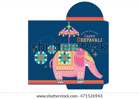 elephant diwali / deepavali money packet template vector/illustration