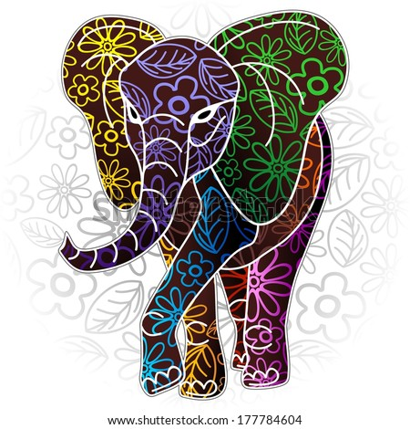 Elephant Floral Batik Art Design - stock vector
