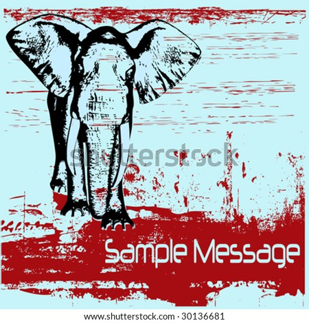 Elephant Grunge Background - stock vector