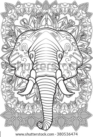 Elephant. Hand drawn vector illustration.