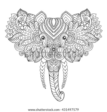 Elephant Head Adult Antistress Coloring Page Stock Vector 431497579 ...