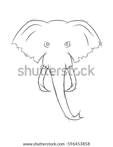 how to draw an elephant front view