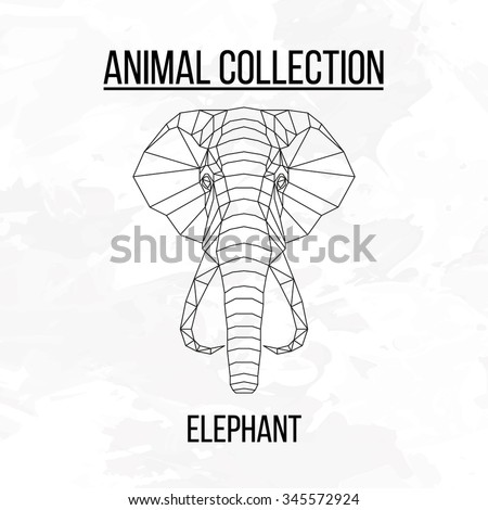 Elephant head geometric lines silhouette isolated on white background vintage vector design element illustration - stock vector