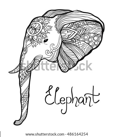 elephant head hand drawn tangled illustration. coloring page for adult and children