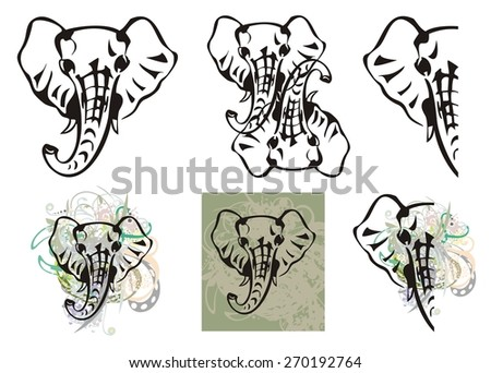 Elephant head symbols and elephant head splashes - stock vector