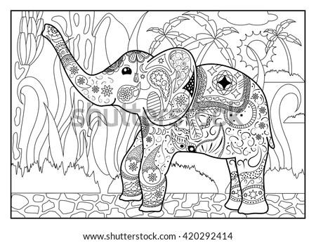 Elephant Jungle Coloring Page Mandala Style Stock Vector 420292414 ...