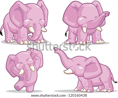 Elephant in Several Poses - Standing, Dancing & Raising Its Trunk - stock vector