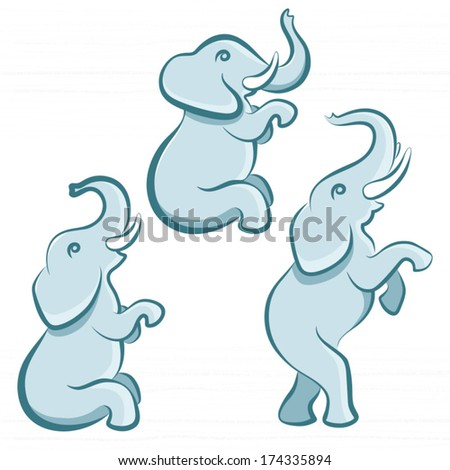 Elephant in various poses / Solid fill illustration in EPS 8 format - stock vector