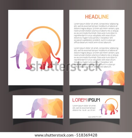 Elephant Invitation Brochure Flyer Business Card Template Set Lowpoly Geometric Illustration