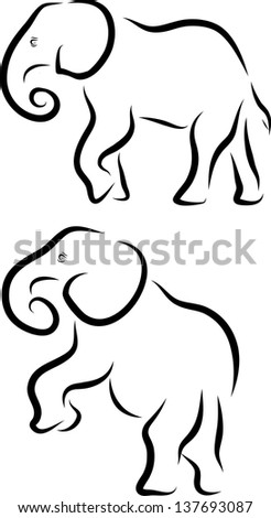 Elephant Line Art Pair
