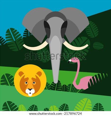 Elephant, lion and flamingo in jungle.