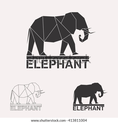Elephant logo set. Elephant geometric lines silhouette isolated on white background vintage vector design element illustration set