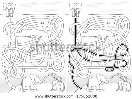 Elephant maze for kids with a solution in black and white