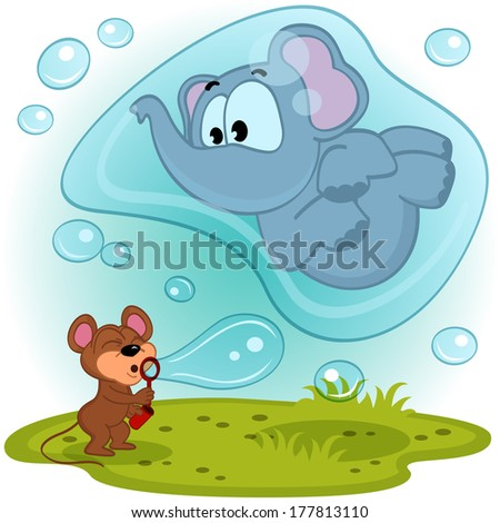 elephant mouse and bubble blower - vector illustration - stock vector