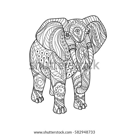 elephant on white background freehand sketch stock vector 582948733