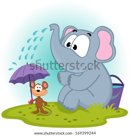 elephant pours water on mouse - vector illustration - stock vector