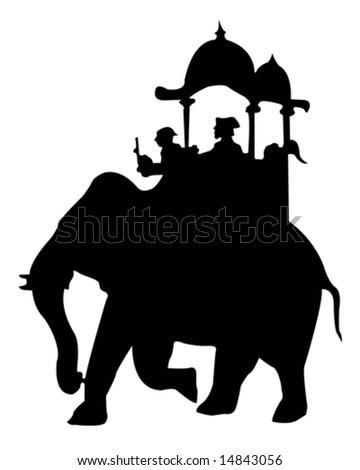 Elephant Ride - stock vector