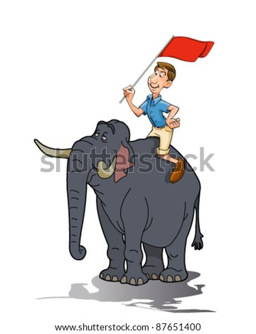 Elephant rider - stock vector