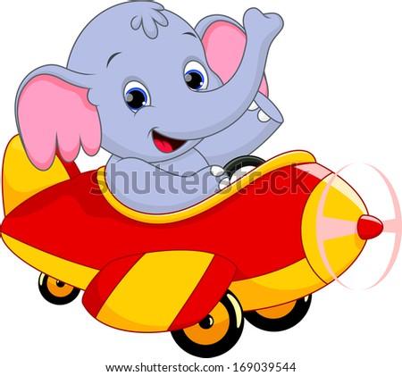 elephant riding a plane - stock vector