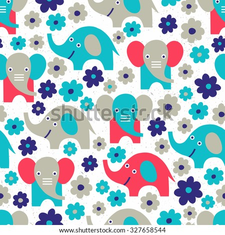 Elephant seamless background. Vector illustration. Cloth design, wallpaper, wrapping. - stock vector