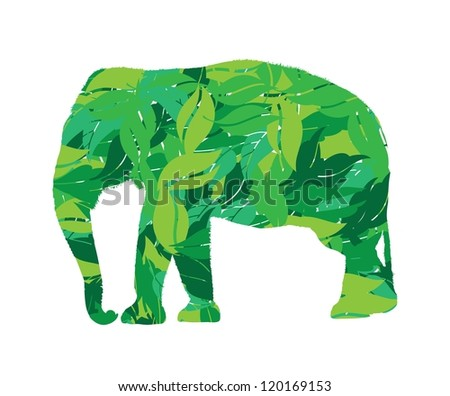 elephant silhouette in leaves vector illustration
