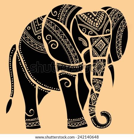 elephant.Silhouette of elephant. - stock vector