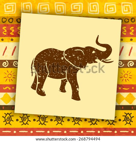 Elephant silhouette on african ornamental background. Vector illustration