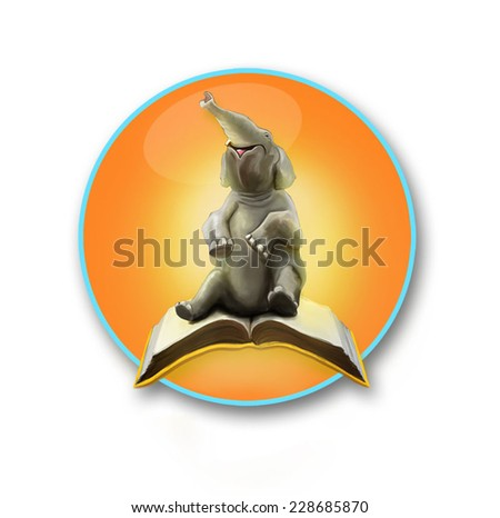 Elephant sitting on the book - stock vector