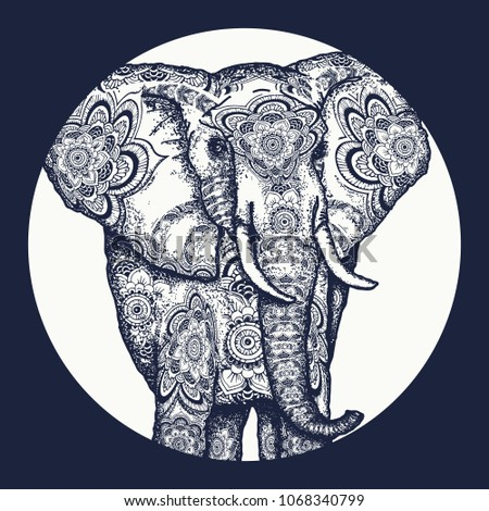 Elephant tattoo. Symbol of meditation, love, freedom, spiritual search tattoo and t-shirt design