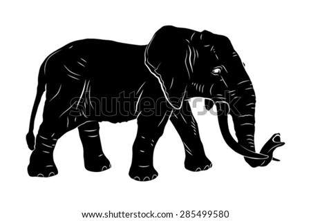 Elephant, vector image, drawn, large mammal, African elephant with big ears - stock vector
