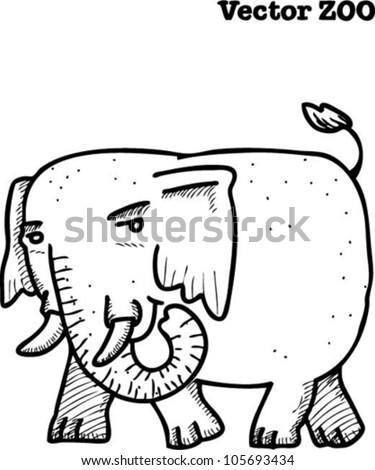 Elephant, vector zoo series - stock vector